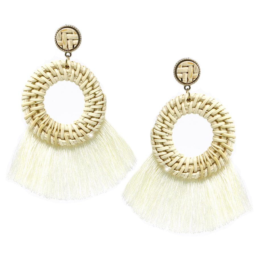Straw Round Hoop With Fringe Drop Earrings