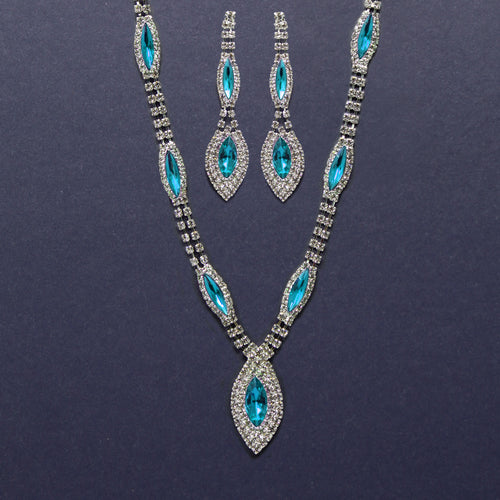 Marquise Glass Stone Station Short Necklace Set