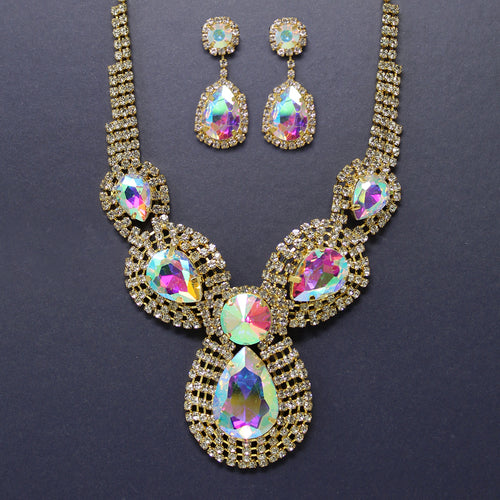 Rhinestone Pave Teardrop Stone Short Necklace Set