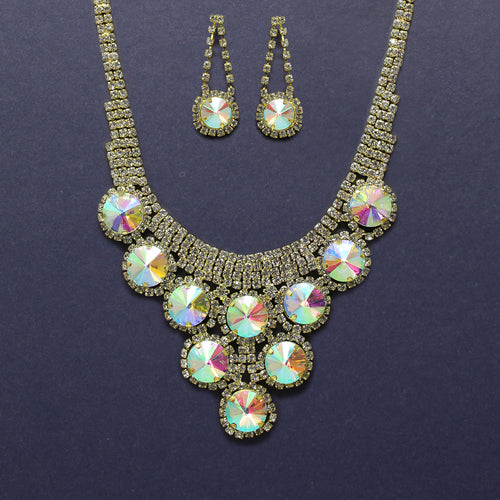 Round Glass Stone With Rhinestone Pave Bib Short Necklace Set