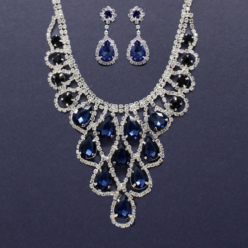 Teardrop Glass Stone With Rhinestone Pave Lace Bib Short Necklace Set