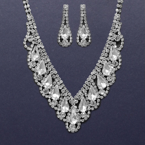 Teardrop Stone Pave V- Shape Necklace Set