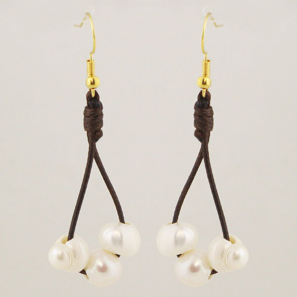 Pearls with Leather Strand Earrings