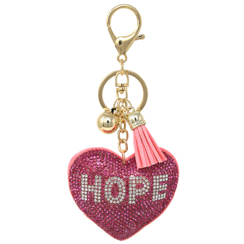 HOPE Heart Rhinestone Tape Keychain