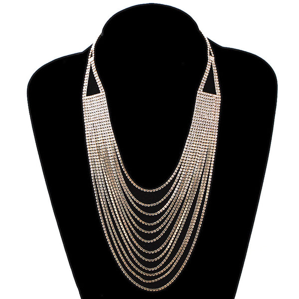 After5 Rhinestone Multi Strands Bridal Necklace
