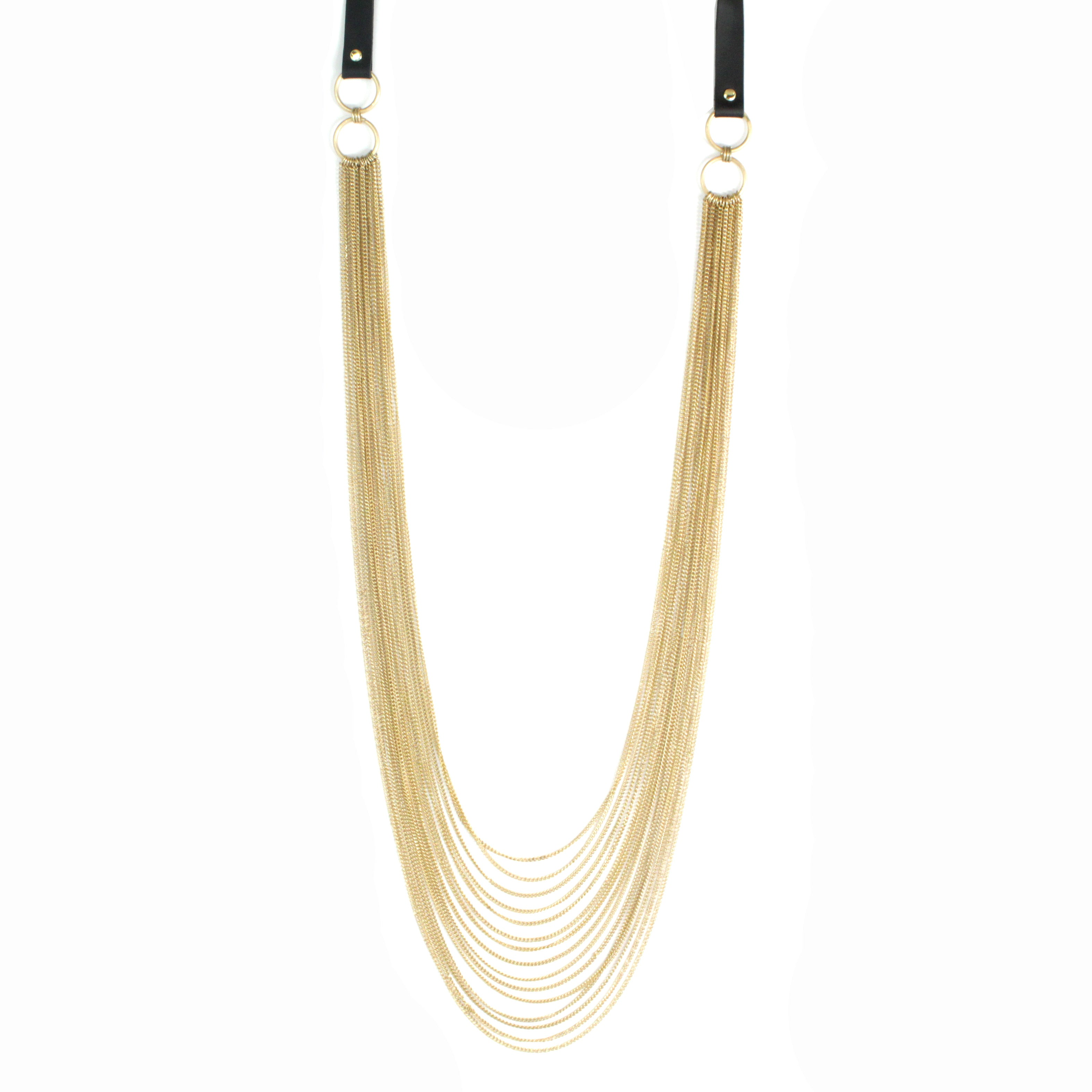 Multi Layered Chian with Leather  Long Necklace
