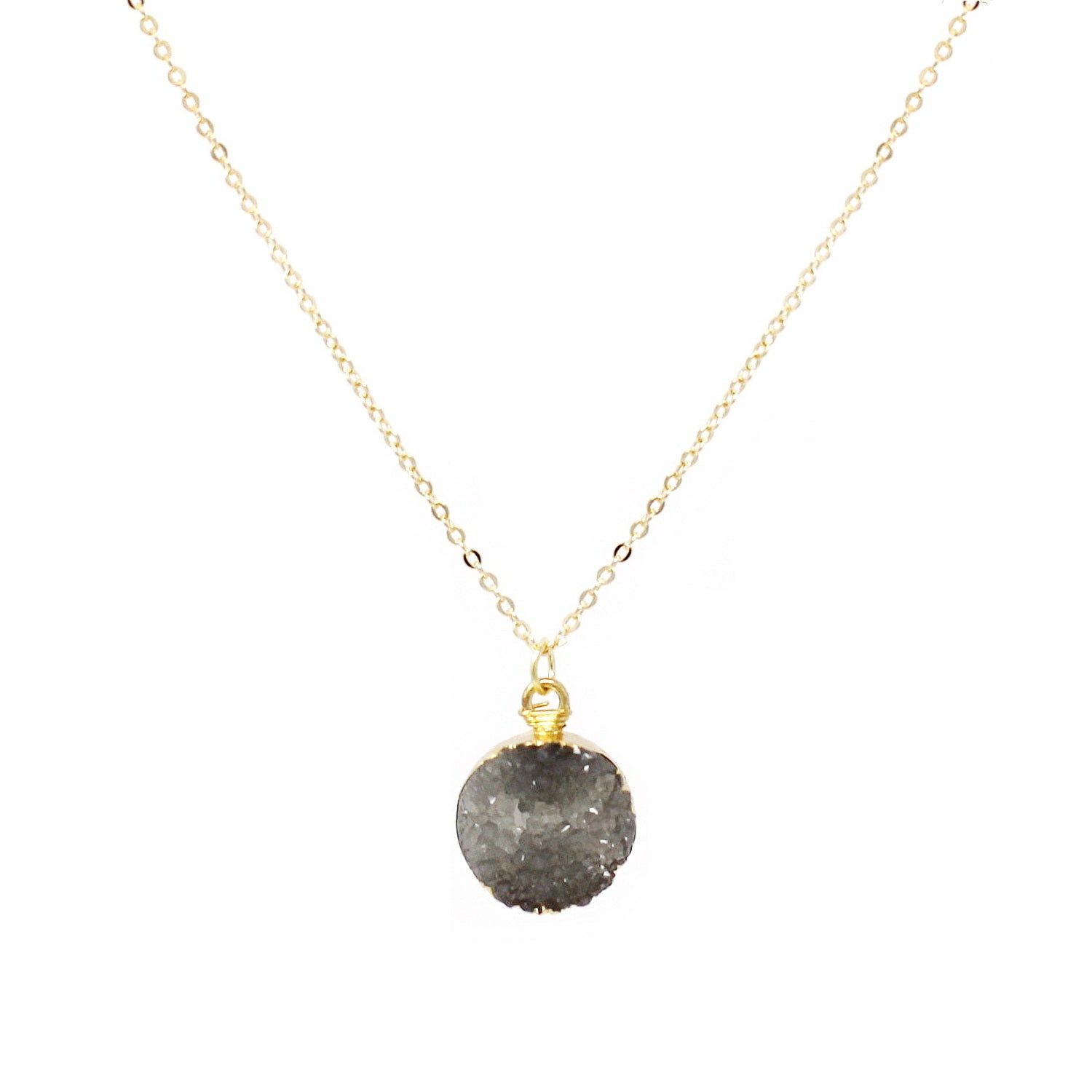Gold Dipped Druzy Stone Pendant Short Necklace