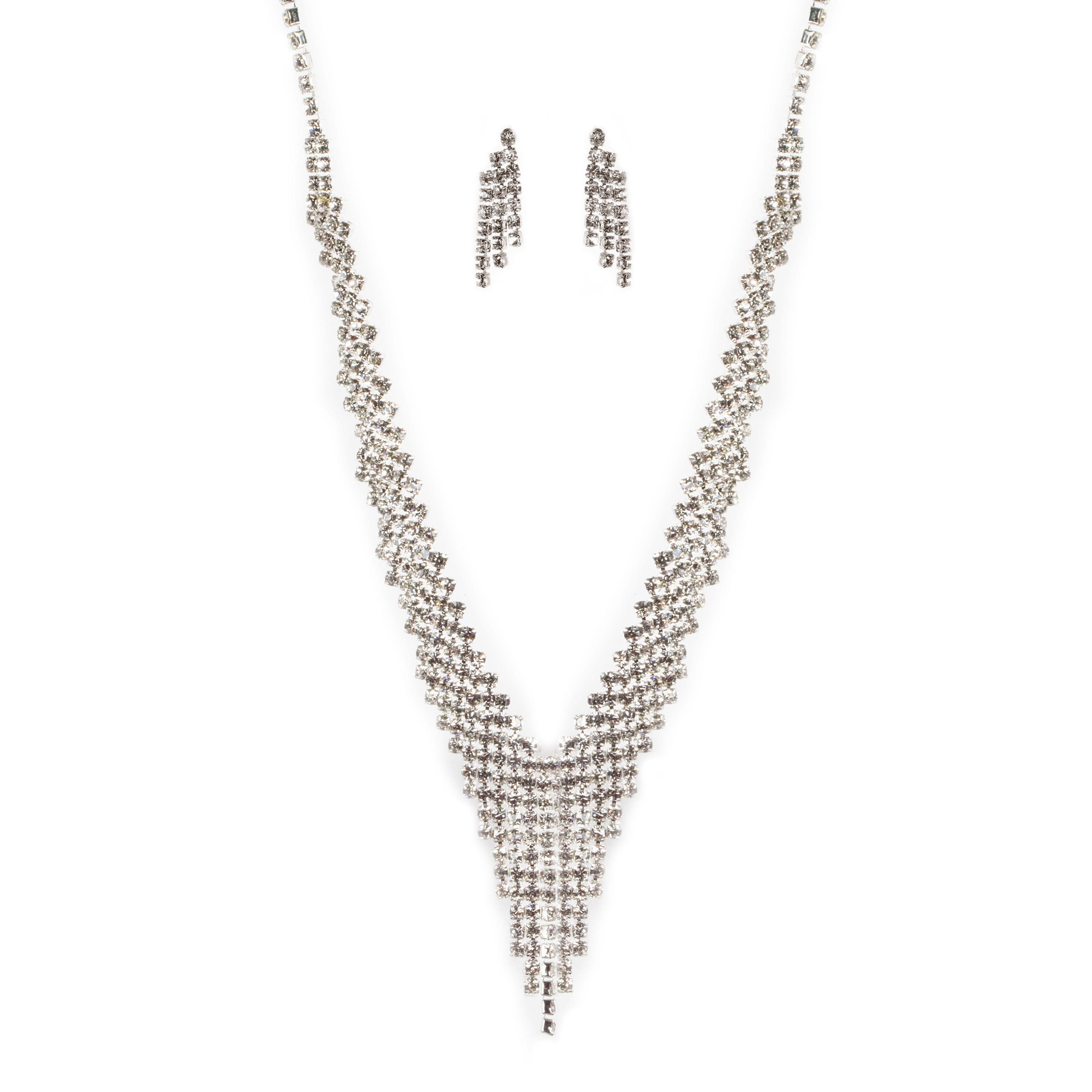 Rhinestone V Fringe Bridal Necklace Set