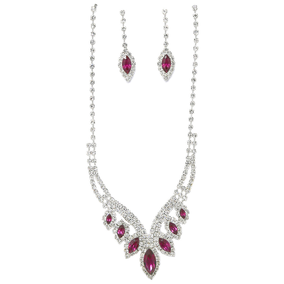 Marquise Shape Glass Stone Pave Necklace Set
