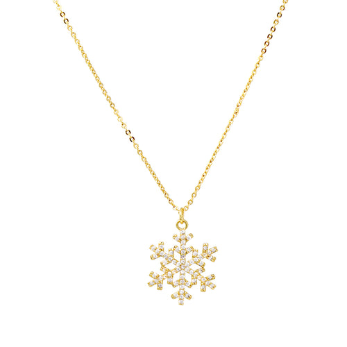 Snowflake Cubic Zirconia Pendant Short Necklace