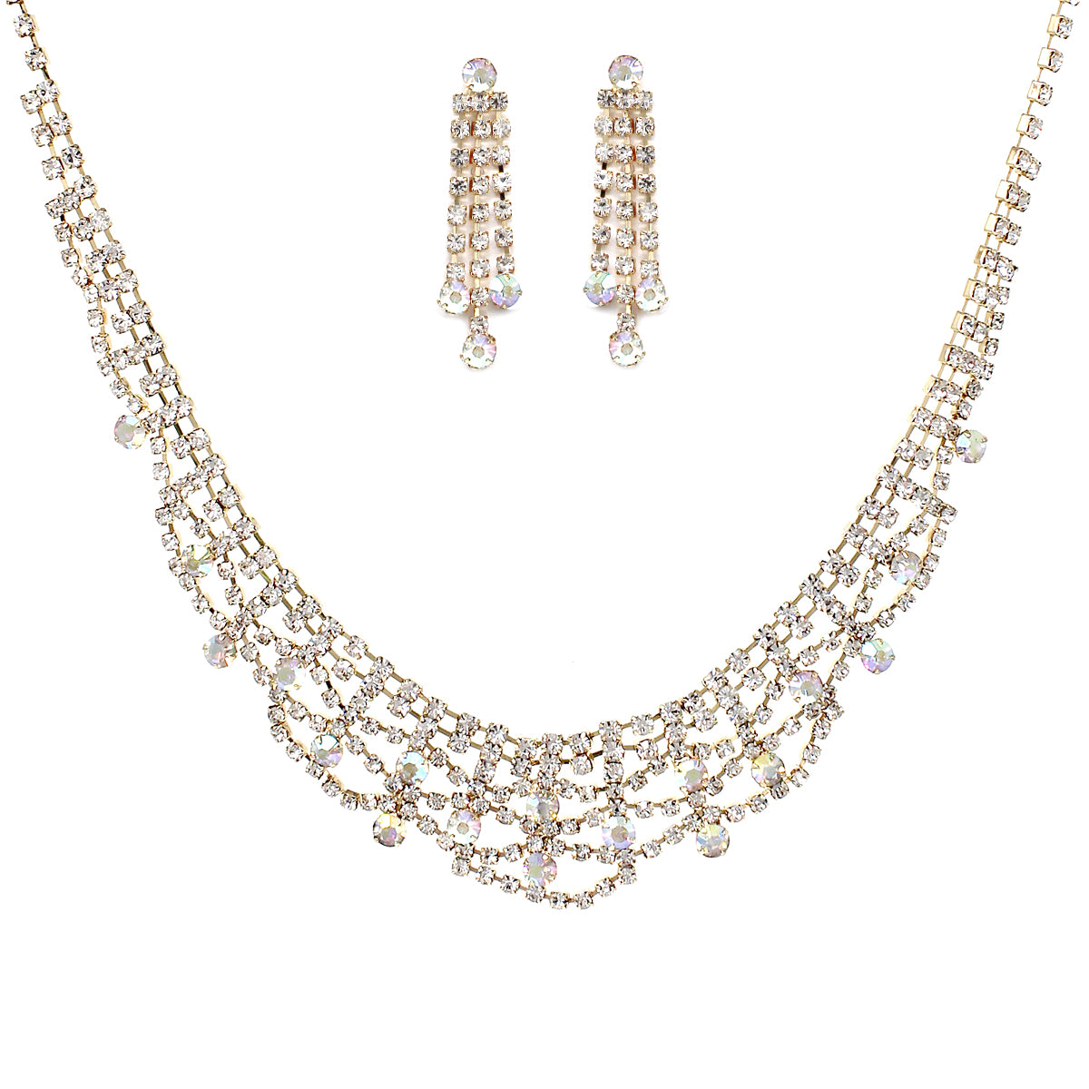 Rhinestone Pave Lace Bib Short Necklace Set