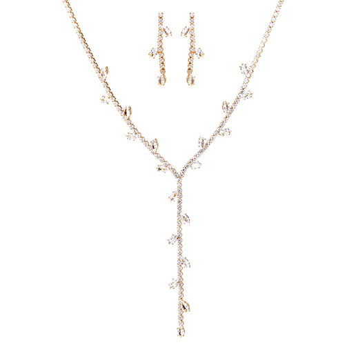 Cubic Zirconia Pave Vine Leaf Y- Necklace