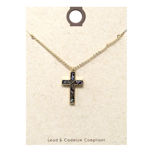 Genuine Abalone Cross Pendant Short Necklace
