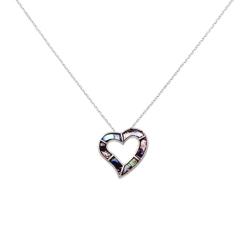 Genuine Abalone Heart Pendant Short Necklace