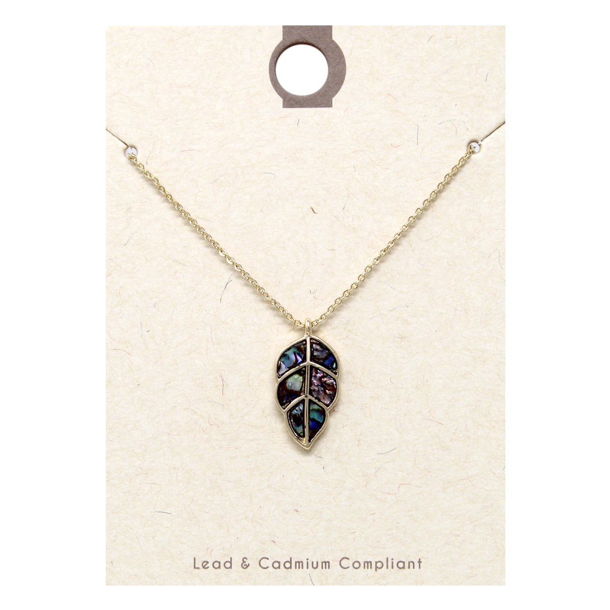 Genuine Abalone Leaf Pendant Short Necklace