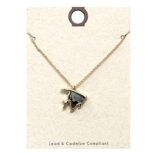Genuine Abalone Tropical Fish Pendant Short Necklace