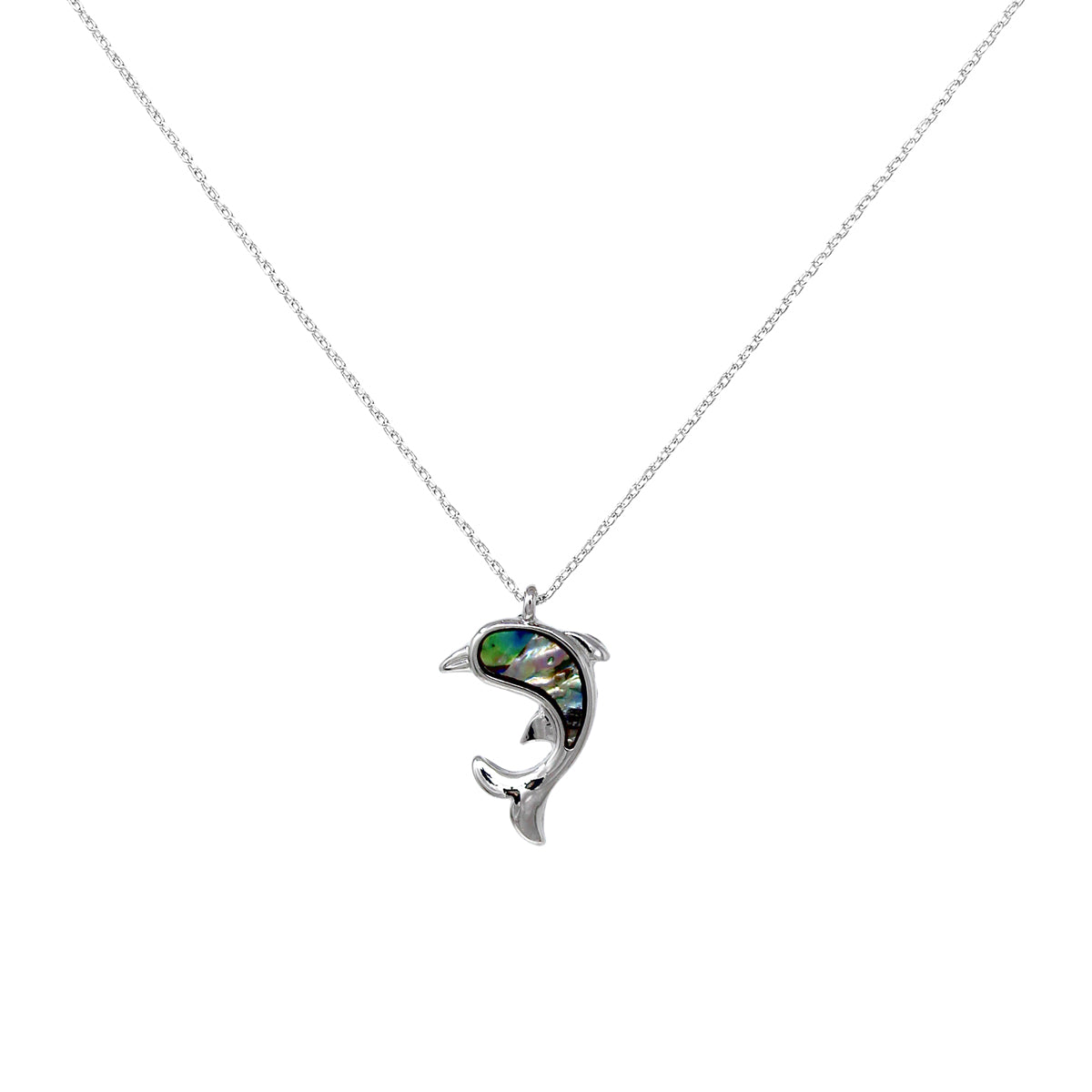 Genuine Abalone Dolphin Pendant Short Necklace