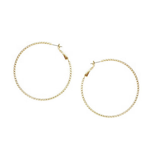 Basic Ribbed Thin Hoop Earrings (50 mm)