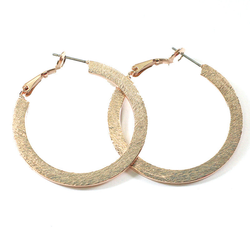 Scratched Flat Hoop Earrings