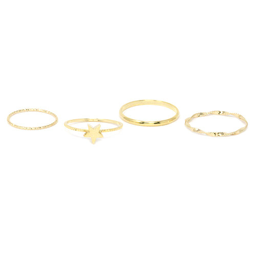 Star With Delicate Metal 4 Rings Set
