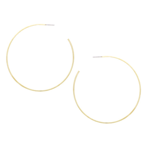 Matte Finished Square Edge Hoop Earrings (Large)