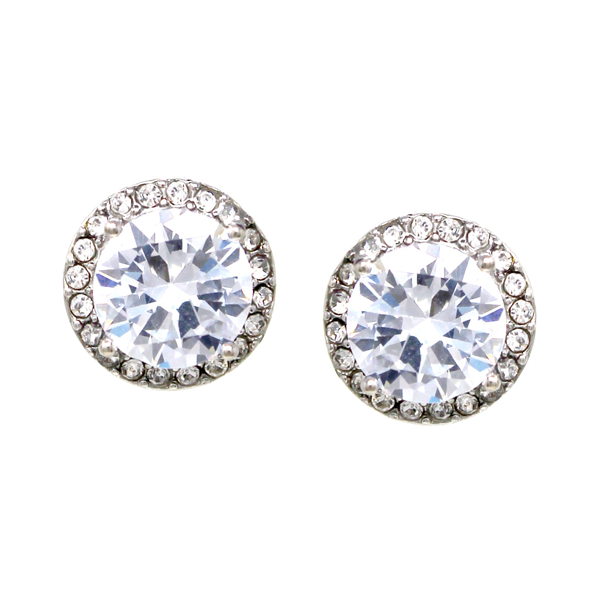 Premium Cubic Zirconia Round Stud Earrings (14 mm)