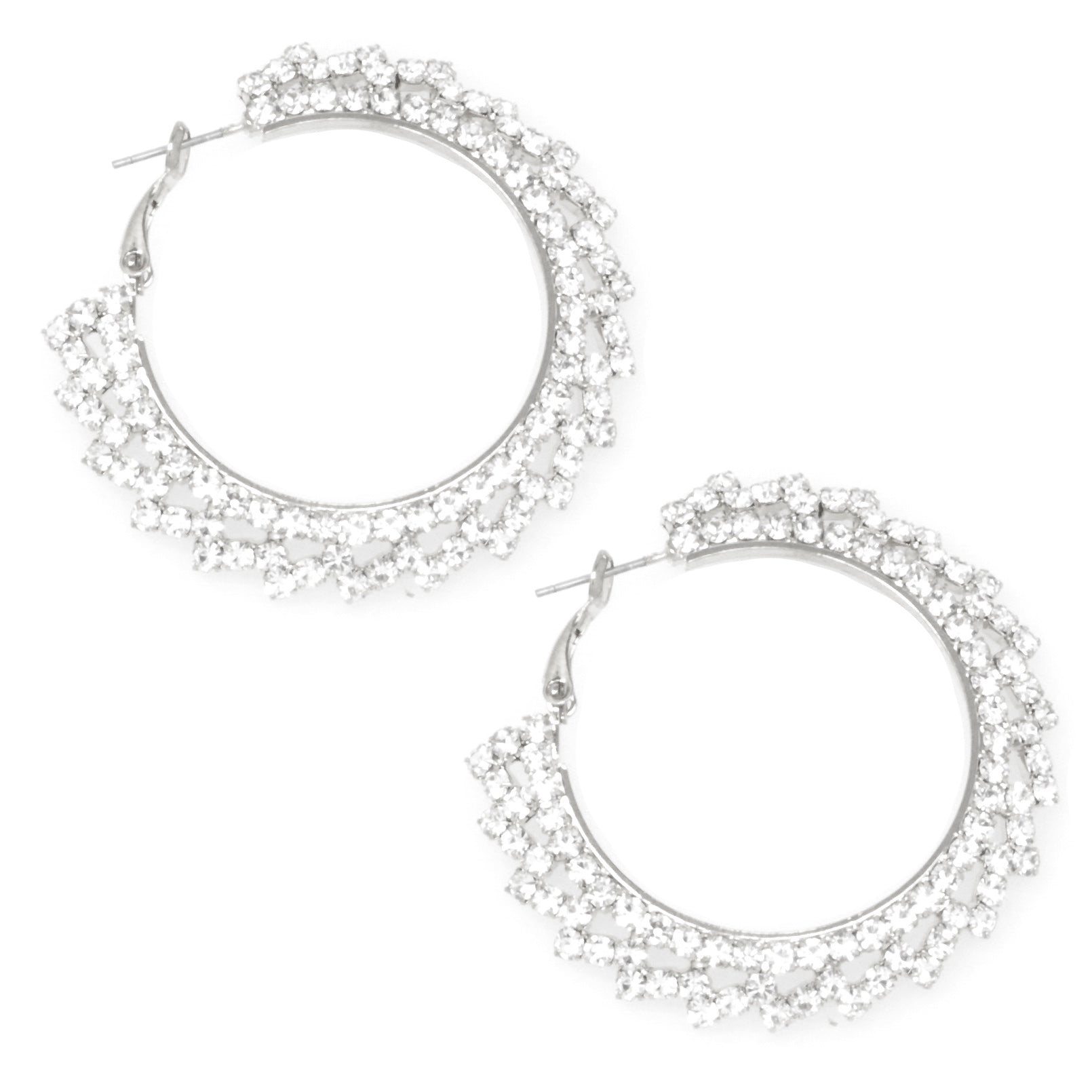 Pave Crystal Rhinestone Evening  Earrings