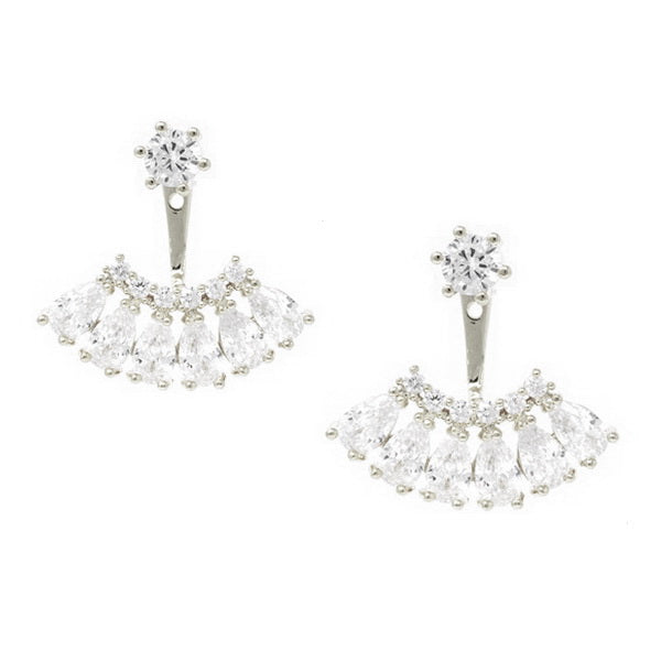 Premium Cubic Zirconia Double Sided Stud Earrings