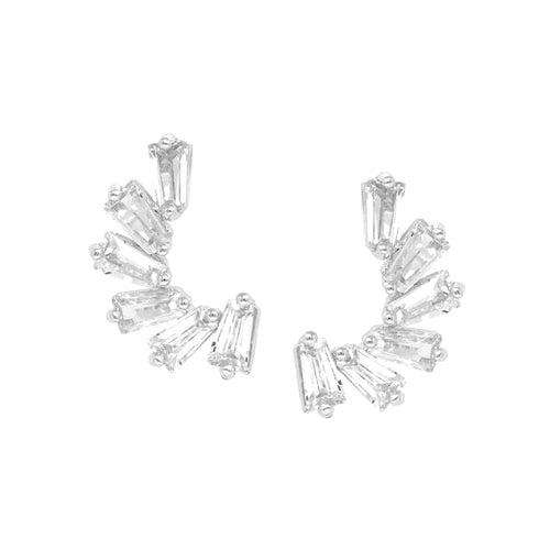 Rectangle Cubic Zirconia Stud Earrings