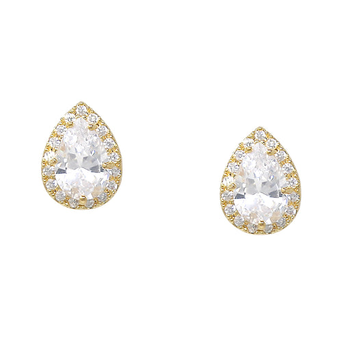 14K Gold Plated Cubic Zirconia Pave Teardrop Stud Earrings