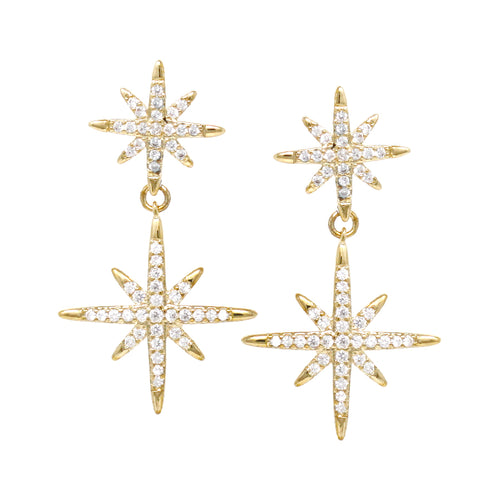 Starburst Cubic Zirconia Double Drop Earrings