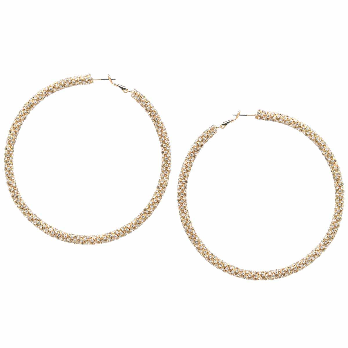 Rhinestone Wrapped Hoop Earrings (80 mm)