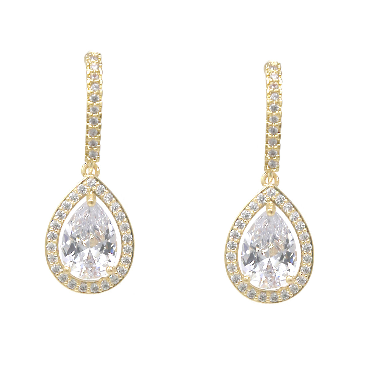 Premium Cubic Zirconia Pave Teardrop Earrings