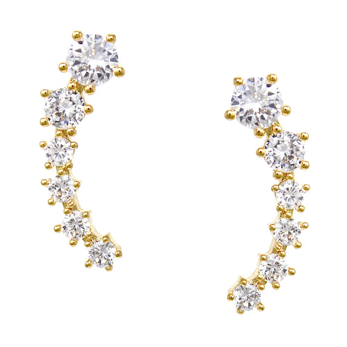 14K Gold Plated Cubic Zirconia Pave Bar Studs Earrings
