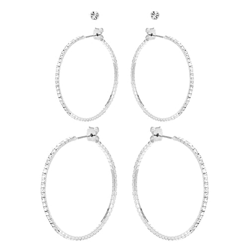 Rhinestone Stud Earrings And Hoop Earrings Set
