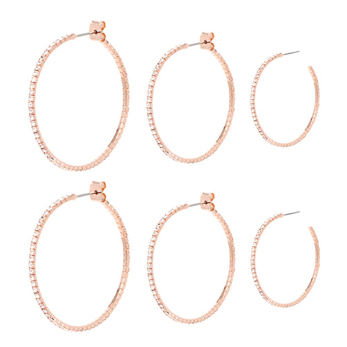Rhinestone Triple Hoop Earrings Set