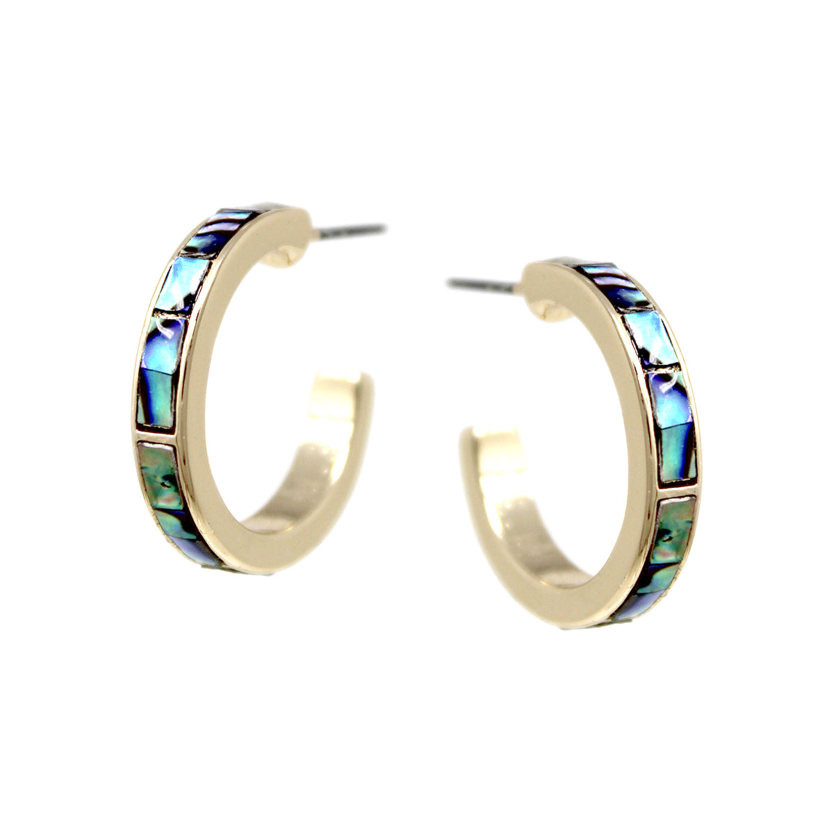 Genuine Abalone Edge Hoop Earrings