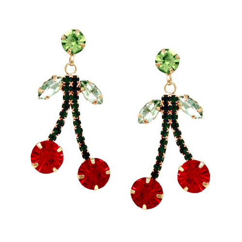 Rhinestone Pave Cherry Drop Earrings