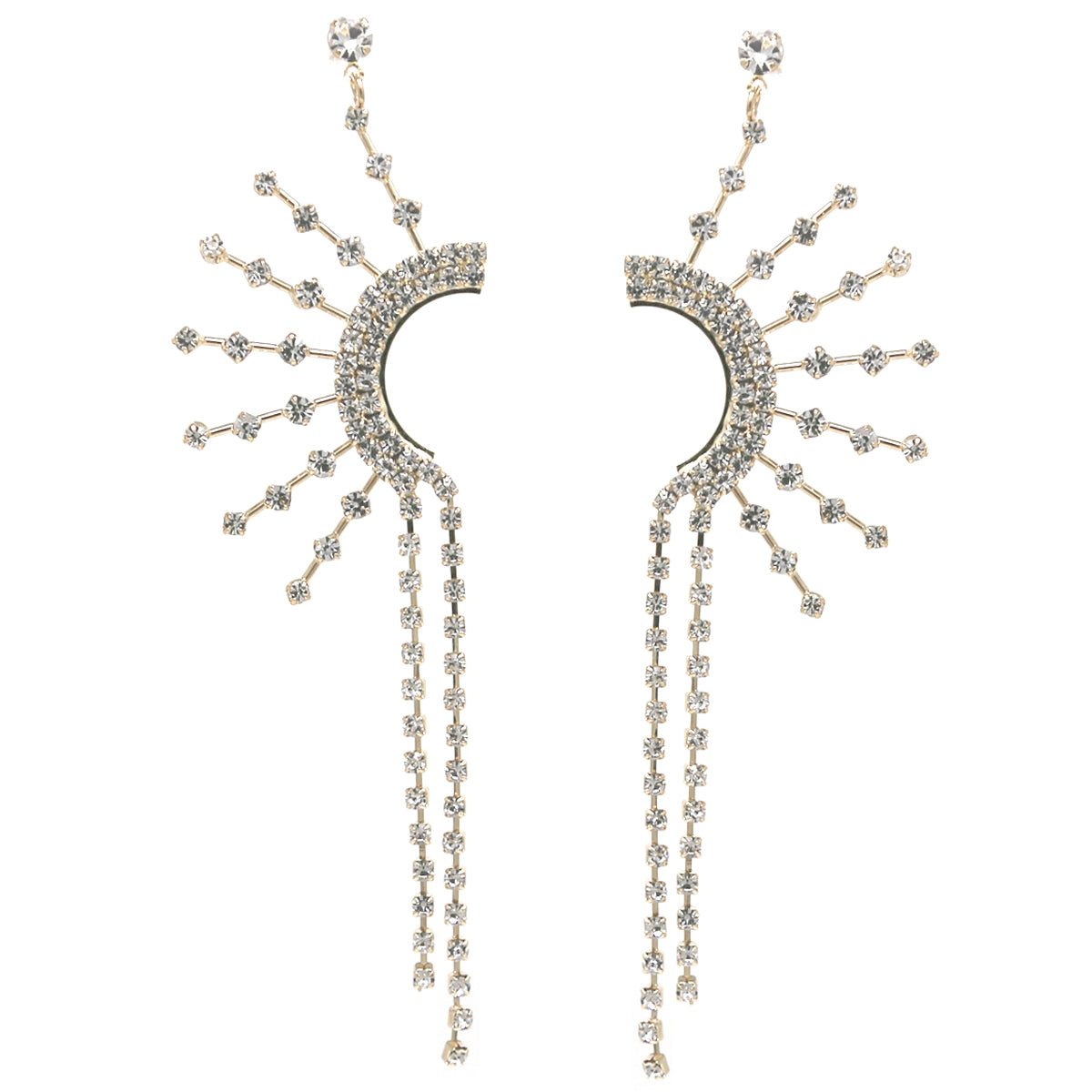 Glass Stone Pave Sunburst Fringe Drop Earrings