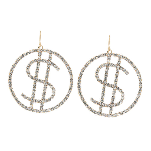 $ Sign Rhinestone Pave Drop Earrings (Small)