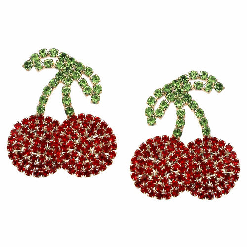 Glass Stone Pave Cherry Stud Earrings