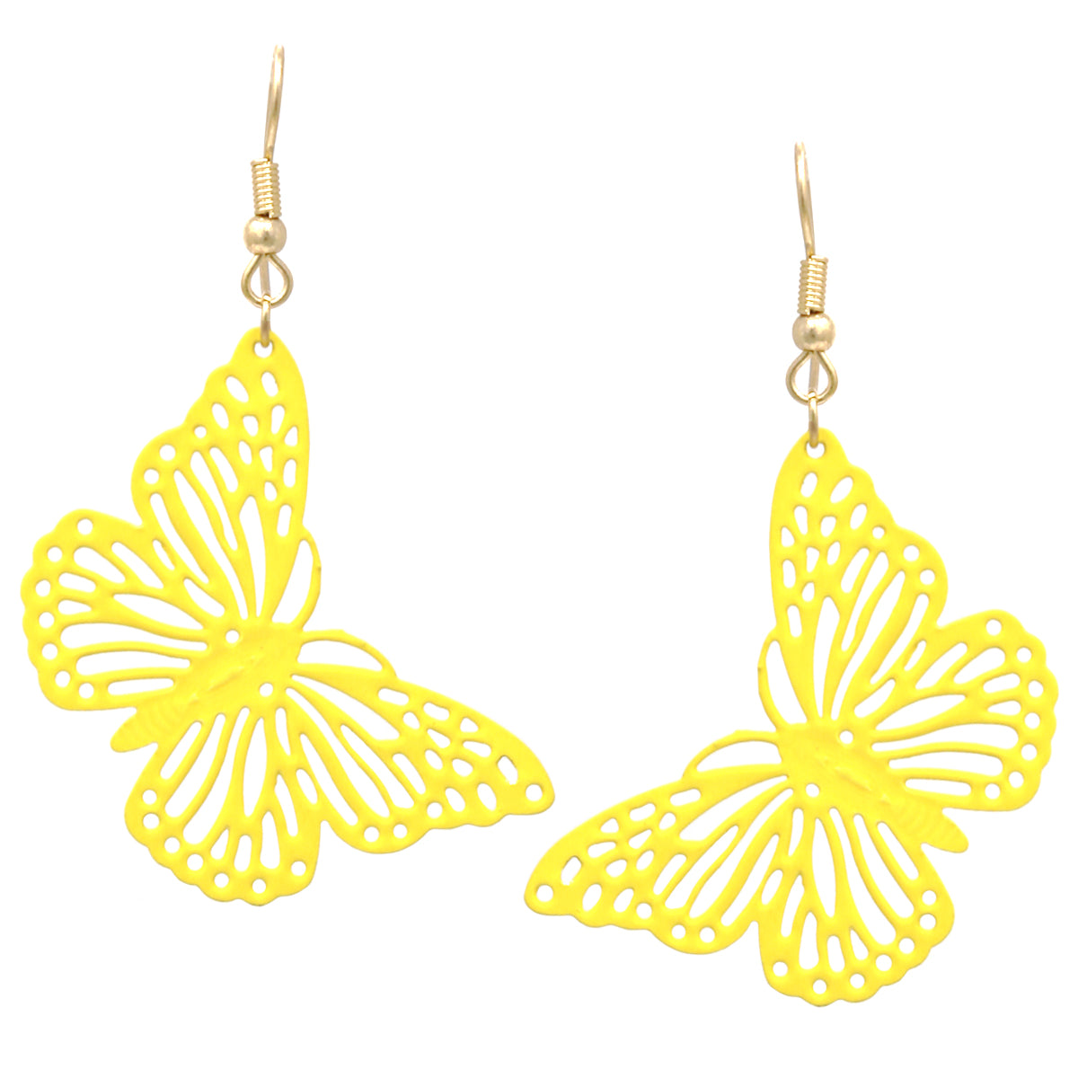 Enamel Coated Butterfly Cutout Drop Earrings