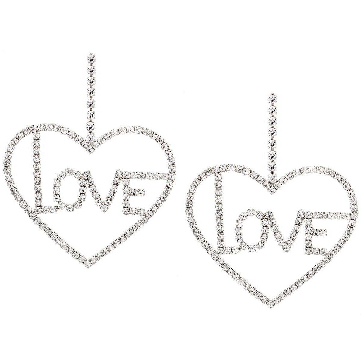 Love Rhinestone Pave Heart Shape Drop Earrings