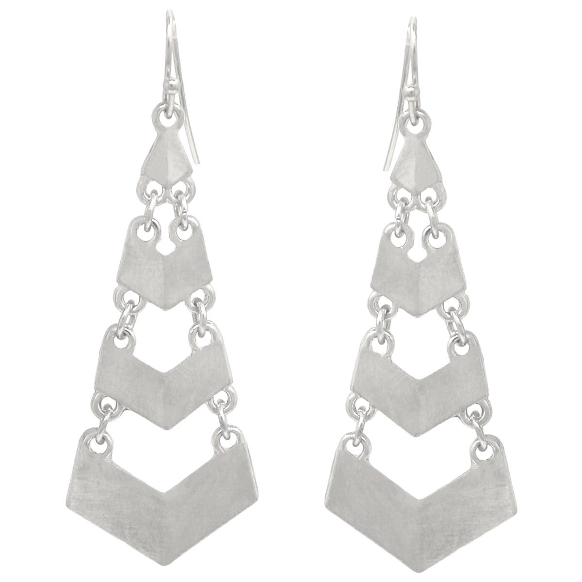 Chevron Shape Metal Linear Drop Earrings