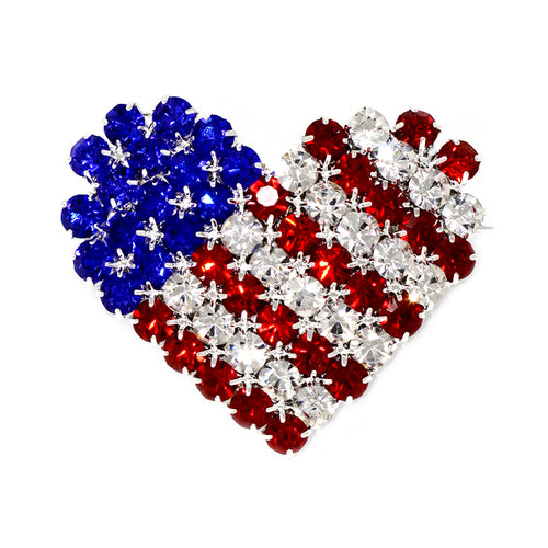 American Flag Heart Shaped Rhinestone Pin
