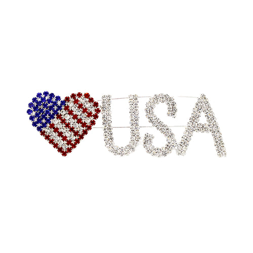 USA Patriotic Rhinestone Pin