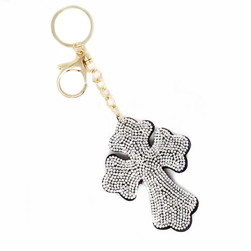 Cross Rhinestone Tape Keychain