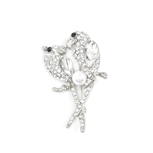 Pave Crystal Rhinestone with Pearl Brooch