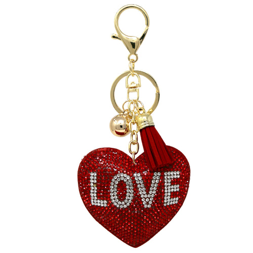 LOVE Heart Rhinestone Tape Keychain