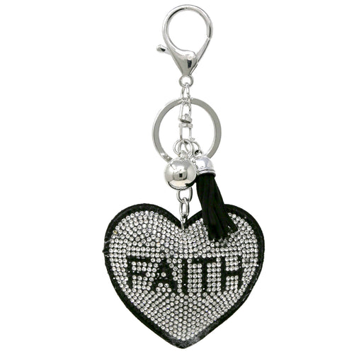 FAITH Heart Rhinestone Tape Keychain